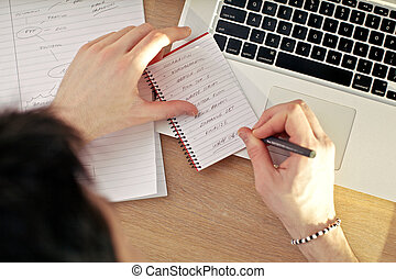 laptop, caderno, escrita
