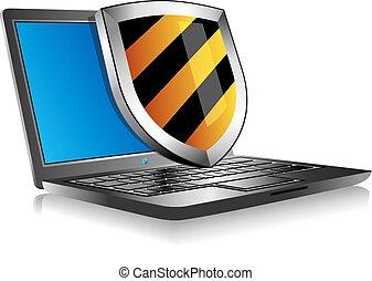 laptop, caderno, escudo