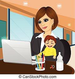 laptop, caffè, messo fuoco, madre lavorante
