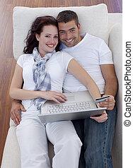 laptop, cartão, shopping, crédito, online, família