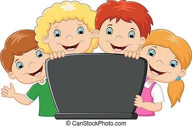 laptop, cartone animato, famiglia, felice