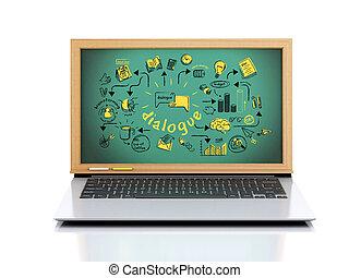 laptop, chalkboard, 3, háttér, fehér, illustration.
