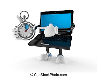 Laptop character with stopwatch