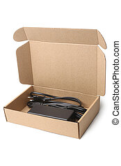 Laptop charger in cardboard box