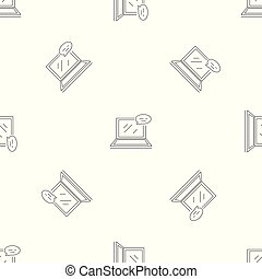 Laptop chat pattern seamless vector