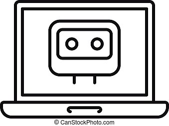 Laptop chatbot icon, outline style