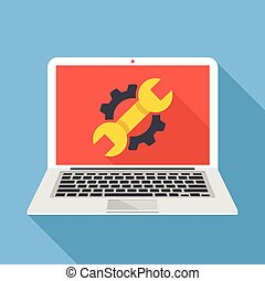 laptop, chave, dente, ícone