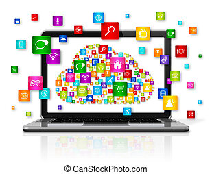 laptop, chmura, obliczanie