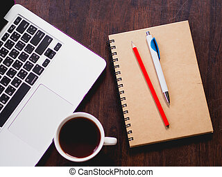 laptop, cima, posto lavoro, vista