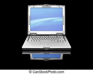 Laptop - 3D render of a titanium laptop on a black...