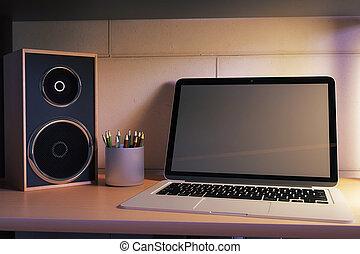 Laptop closeup at night