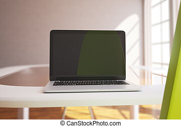 laptop, closeup, exposição, em branco
