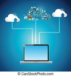 laptop cloud computing icon network