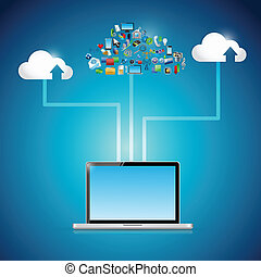 laptop cloud computing icon network