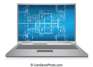 laptop, com, abstratos, arquitetônico