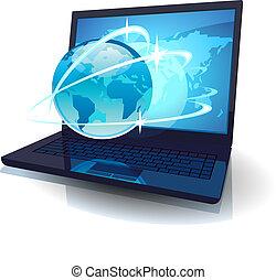 laptop, com, globo, e, mapa, de, mundo, e, órbitas