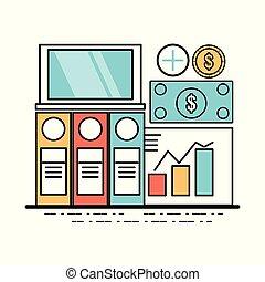 laptop, com, importante, documento negócio
