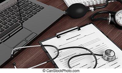 laptop, com, instrumentos médicos, e, paciente, forma, ligado, desktop