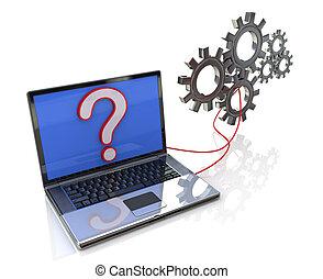 laptop, com, processo, software