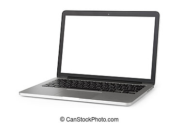 laptop, com, tela branco