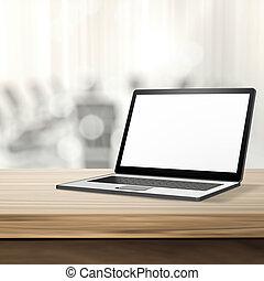 laptop, com, tela branco, ligado, madeira, tabela, e, fundo...