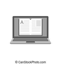 laptop, com, um, livro, ligado, tela, ícone, biblioteca online, educação, concept., símbolo, em, trendy, apartamento, estilo, isolado, branco, experiência.