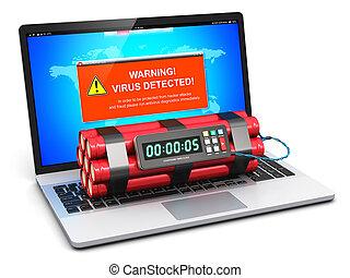 laptop, com, vírus, ataque, aviso, mensagem, e, cronômetro,...