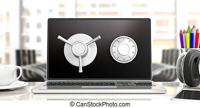 Laptop combination lock safe, isolated, blurry office background. 3d illustration.