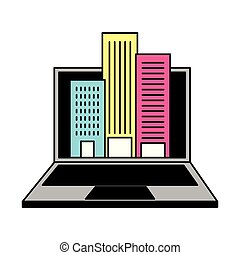laptop computer and buildings city