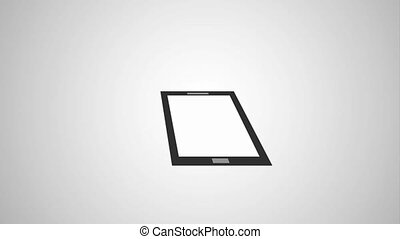 laptop computer and cellphone gadget devices icons animation...