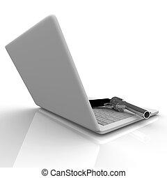 Laptop Computer and Gun