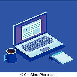 laptop computer and isometrics icons