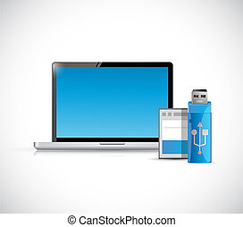 laptop computer and storage objects illustration