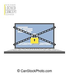 Laptop computer are bound with chains and locked with a padlock flat vector.