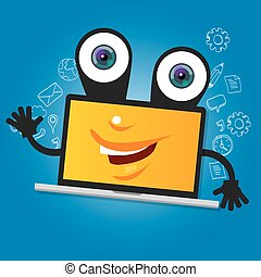 laptop computer big eyes character cartoon smile with hands yellow mascot face happy