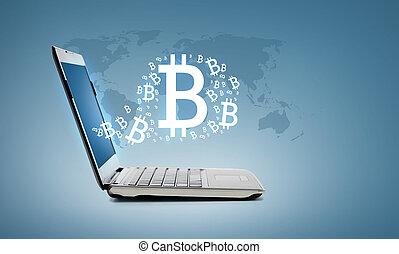 laptop computer, bitcoin