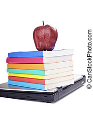 laptop computer books apple fruit food education school