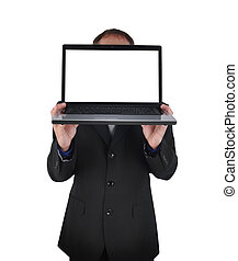 Laptop Computer Business Man on White