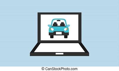 laptop computer car vehicle selecting animation hd