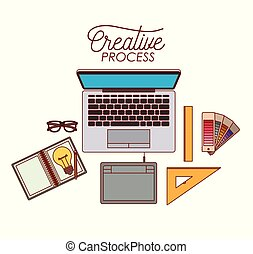 laptop computer creative process with elements graphic design on white background