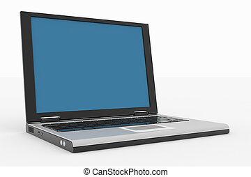 laptop-computer, freigestellt, auf, white.