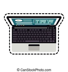 laptop computer icon over white background. colorful design....