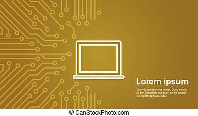 Laptop Computer Icon Over Computer Chip Moterboard...