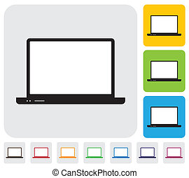 laptop computer in different colors- simple vector graphic.