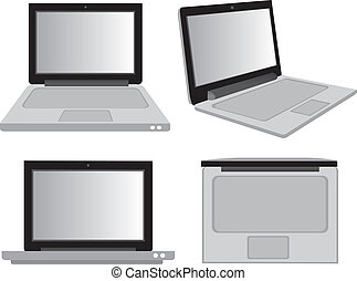 Laptop Computer in Different Perspective Views Vector Illustration