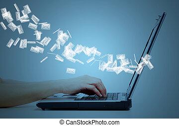 laptop-computer, keyboard., hände
