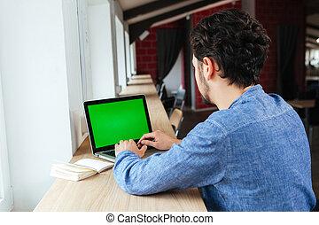 laptop computer, leeg, gebruik, scherm, man