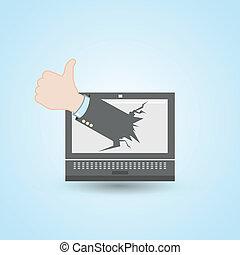 laptop computer, ligesom, hånd