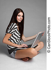 laptop-computer, m�dchen