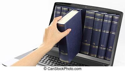 laptop computer, met, boekjes , vrijstaand, op wit